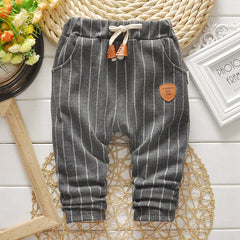 Autumn Baby Boys Striped Print Casual Drawstring Waist Pants Kids Full Length Trousers  roupas de bebe