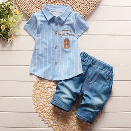 BibiCola little child kids mold summer infant young men attire sets 2pcs