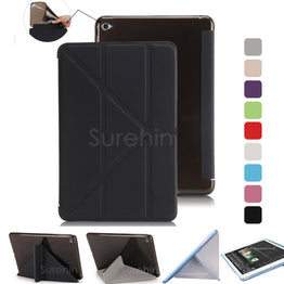 TPU flexible silicone soft back smart leather case for apple ipad mini 3 2 1 4