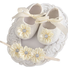 Rhinestone Soft Soled Headband & Shoes Set for baby Girls