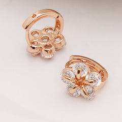 Gold Plated Zircon Hoop Flower Design Earrings for Women