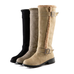 Women's Snow fashion Buckle Knight Round Toe Casual Boots
