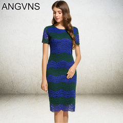 Striped Lace Dress Party Elegant Office Spring Vintage Knee Length Formal Dresses