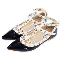 Ankle Strap Pointed Toe Rivets Studded Flat Shoes for Women