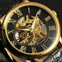 Forsining Skeleton Mechanical Luxury Gold Wrist Watch