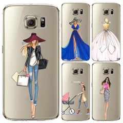 Shopping Girls Patterns Soft  Back Cases Cover for Samsung Galaxy