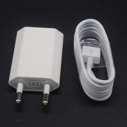 White USB EU Wall Power Charger Adapter + 8pin USB Date Charger