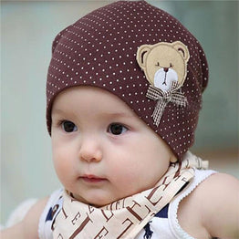 Child Hat Casual Dot Baby Beanie Bear Cartoon Infant Girls Boys Cap Kids
