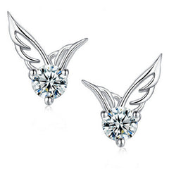Angel Wings Zircon CZ Diamond Crystal Shiny Ear Studs