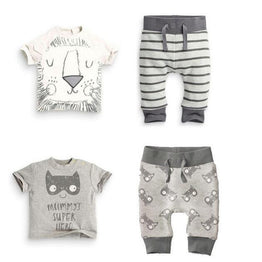 Infants Cotton Little monsters and the lions short sleeve 2pcs Clothing set.