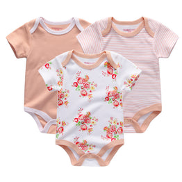 New short sleeve cotton bodysuits for Baby Boy/Girl with 3pcs