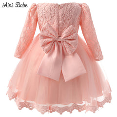 Autumn Long Sleeve Pink White Party Wear dress for Girls