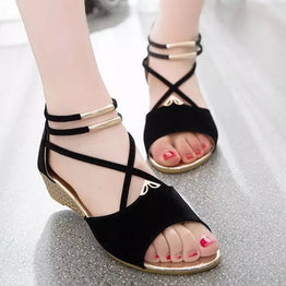 Angle mouth outlined wedges for ladies