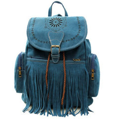 Retro Engraving and Fringe Design Vintage Tassel Backpack for Women
