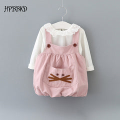 Autumn baby girl long sleeve cotton T-shirt and cartoon strap clothing sets