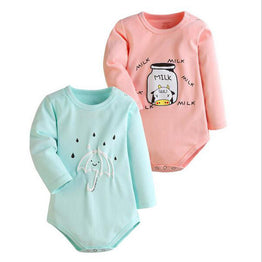 Spring Ropa Cotton Long Sleeve MILK & UMBRELLA 2 pcs Baby Bodysuits