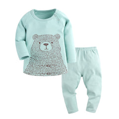 Bear Pattern Long Sleeve T-shirt+Pants Pajama Set for Baby Girl