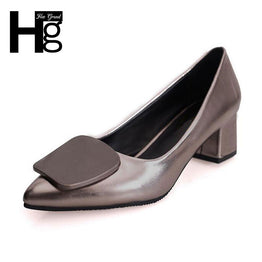 HEE GRAND Elegant Fashion Pointed Toe Concise Square Heels Shoes