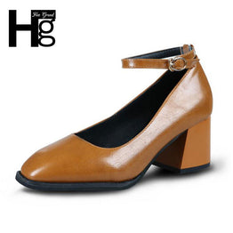 HEE GRAND Vintage Women's Fashion Square Toe Shoes