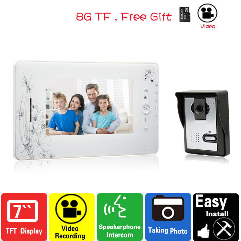 7 inch video doorphone intercom system monitor video recording