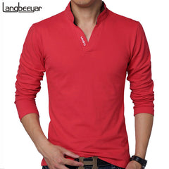 Long Sleeve Slim Fit Cotton Casual T Shirts for Men