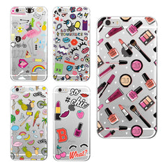 Girly MakeUp Lips Big Eyes Pineapple Unicorn Rainbow Flamingo Soft Case for iPhone 4/5/6/7 Plus/SE