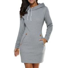 Warm Winter  Hooded Dresses Pocket Long Sleeved Casual Mini Dress