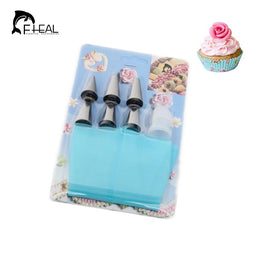 Silicone Icing Piping Cream Pastry Bag With 6pcs Stainless Steel Cake Decorating