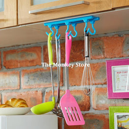 Candy ABS Plastic 2Kg Powerful Wall Cabinet Adhesive Stickers 6 Hooks