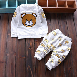 Spring Style cartoon bear baby boys/girls clothing set with t-shirt + pants