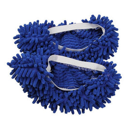 Blue Chenille Floor Dust Cleaning Slippers Mop Wipe Shoe 1Pc