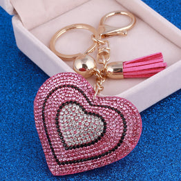 Crystal Heart ZOSHI Gold Plated luxury charm key chain