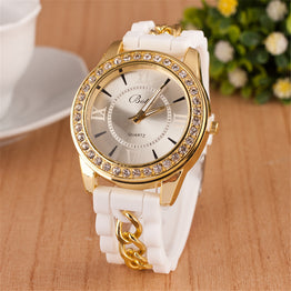 Silicone strap Hot crystal drill quartz women's bracelet watch