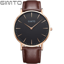 Luxury Brand GIMTO Leather Ultra Slim Gold Quartz-watch for Male/Female