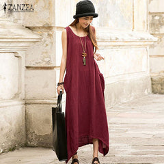 ZANZEA 2017 Summer Boho Women Casual Loose Sleeveless Long Dress