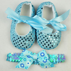 Spring Bling Bow Baby Girls Headband & Shoes set