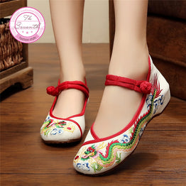 Embroidered Flat Heel Denim Women Shoes