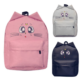 Ear Cat Cartoon Flower Printed Canvas Backpack for Teenage Girls