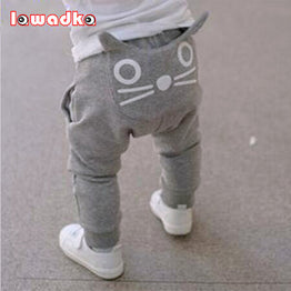 Cute Cartoon Pattern Baby Harem Cotton Owl Trousers for Spring and Autumn