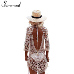 Simenual Backless cut out summer lace beach dresses ladies 2017