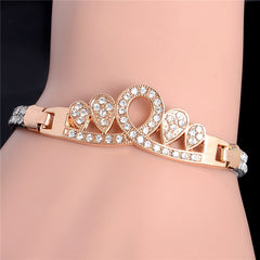 Gold Plated Heart Tone Crystal Pave Fashion Bracelets For Women