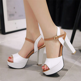 High Square Heels Peep Toe Sandals for Women
