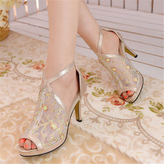 Back Zipper Peep Toe Mid Heels Ankle Cross Style Sandals for Women