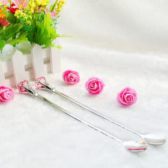 2pcs/ set Long Handled Stainless Steel Dessert Ice Cream Tea Coffee Spoon