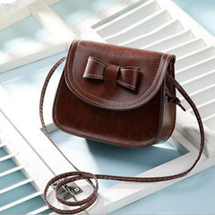 Bowknot Leather Shoulder Messenger Phone Bag for Women
