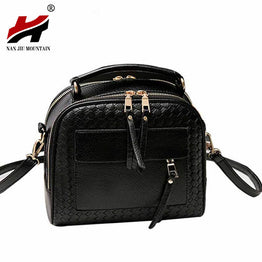 Knitting High-quality PU Leather Woven Top Handle Bag for Women