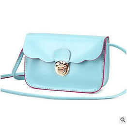 Hot Solid Color PU Leather Hasp Lock Crossbody Bag for Women