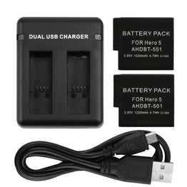 SHOOT 1pcs AHDBT-501 Dual Port Charge and 2pcs 1220mAh Battery Pack For GoPro Hero 5 Camera