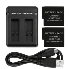 1 Pcs Dual Port Charge and 2pcs 1220mAh Battery Pack For GoPro Hero 5
