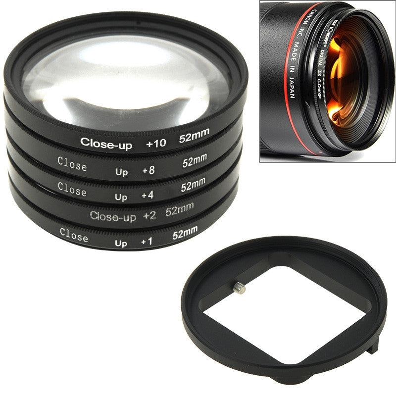 52mm Close-Up Lens Filter Macro Lens + Adapter Filter Ring for GoPro HERO4 /3+
